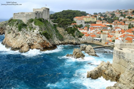 A stunning view of an old fort from the wall of Dubrovnik, Croatia