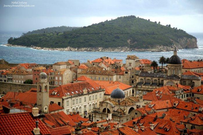 Lokrum Island as we were walking on the old city wall of Dubrovnik, Croatia