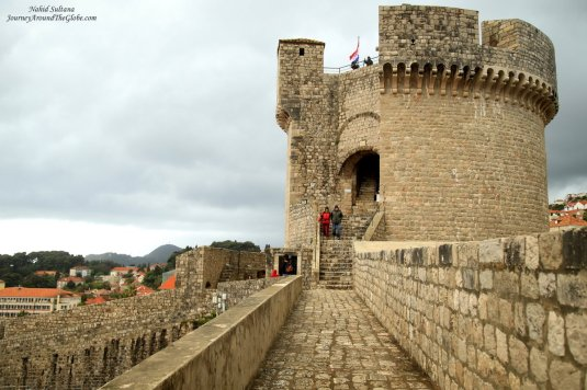 A medieval tower on old city wall of Dubrovnik, Croatia