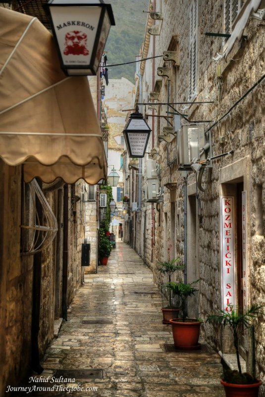 A small alley with small shops in Old Dubrovnik, Croatia