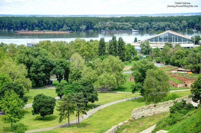 Confluence of River Danube and River Sava from Belgrade Fortress in Serbia