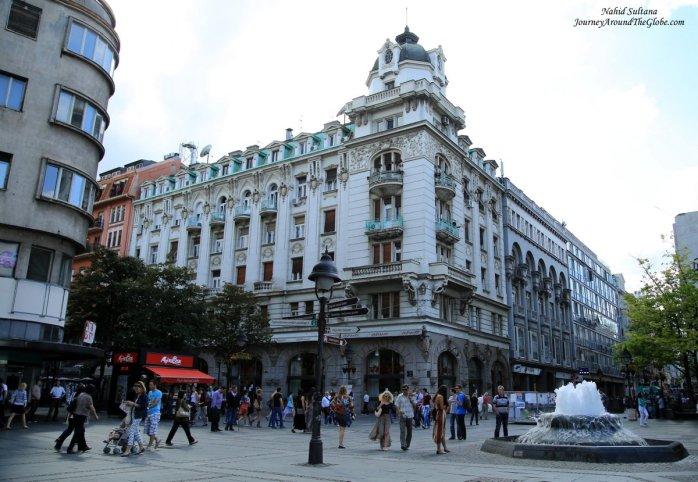 Knez Mihailova Street - the main pedestrian street of Belgrade, Serbia
