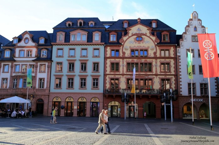 Attractive buildings in Altstadt or Old Town of Mainz, Germany