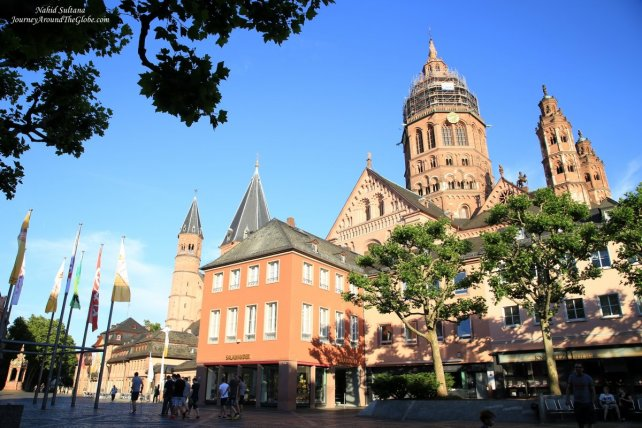 Mainz Cathedral looming over its Old Town in Mainz, Germany