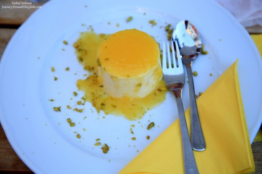 "My dessert - mango mousse ice-cream in a restaurant ""Maredo"" in Mainz, Germany"