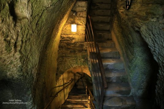 Inside an underground tunnel in Godfrey's Castle in Bouillon, Belgium