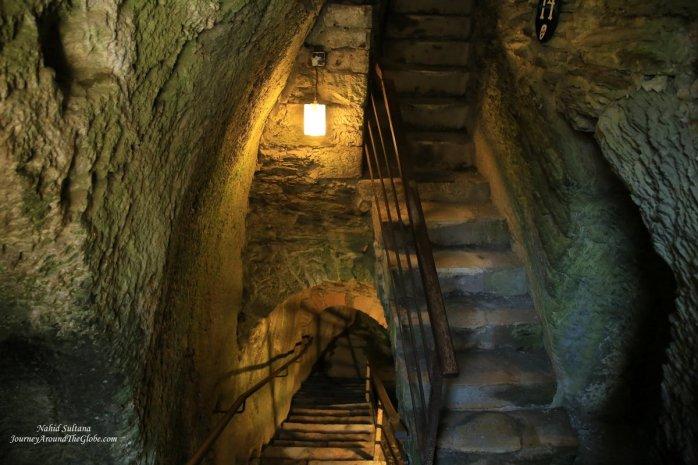 Inside an underground tunnel in Godfrey's Castle in Bouillon, Belgium