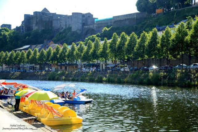 Walking towards to rent a paddle boat, can see Godfrey's Castle on the hill...in Bouillon, Belgium