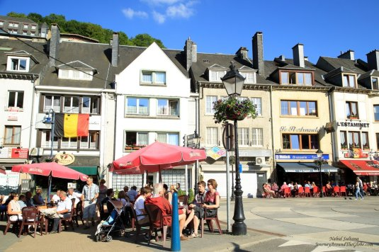 Some restaurants by River Semois in Bouillon, Belgium