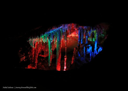 A beautiful display with colorful lights in Shenandoah Cavern in Virginia