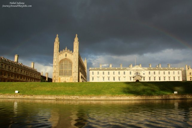 A portion of University of Cambridge - King's College while punting on River Cam in England
