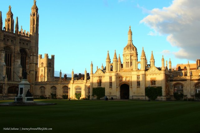 Elegant building of King's College in Cambridge, England