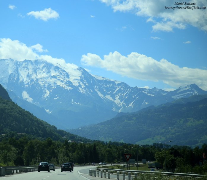 On the scenic highway from Annecy to Chamonix in France