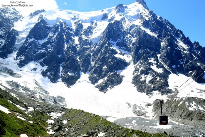 Looking up at Aigulle du Midi from Plan de Aiguille (in Mont Blanc, France)