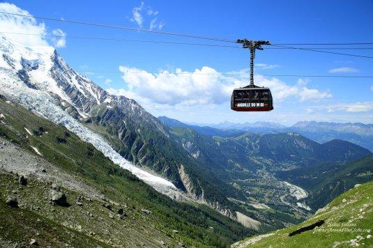 Cable car that connects Plan de Aiguille and Aiguille du Midi in Mont Blanc, France