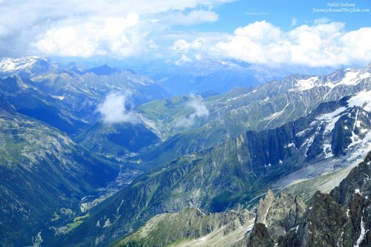 Mont Blanc massif, layers of majestic Alps in Southern France
