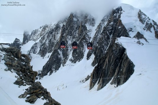 The panoramic telepherique tramway connects Aiguille du Midi (French Alps) and Pointe Helbronner (Italian Alps)