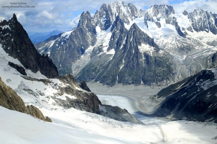 Glacier, valley, peaks of Mont Blanc massif