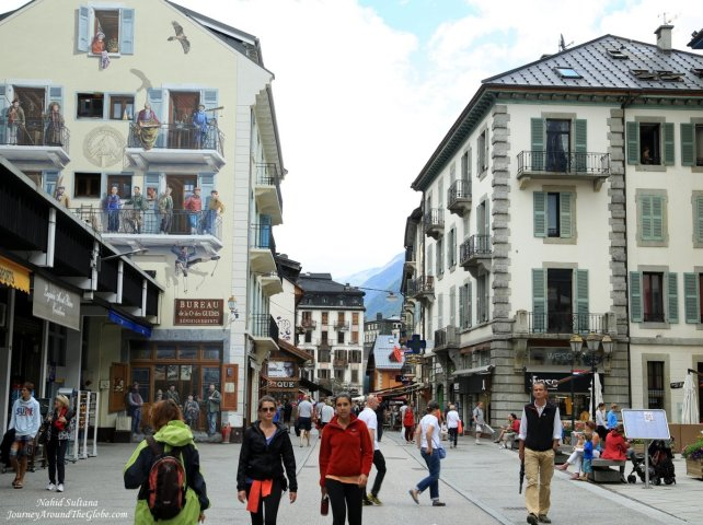 Center of Chamonix, at the foothill o Mont-Blanc in the French Alpine region