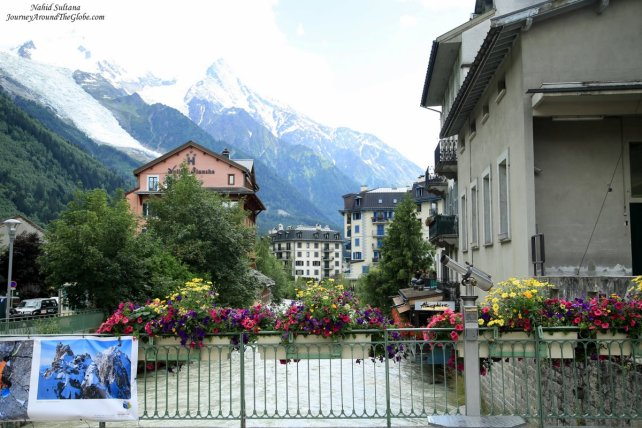 River Arve running thru city center of Chamonix, France