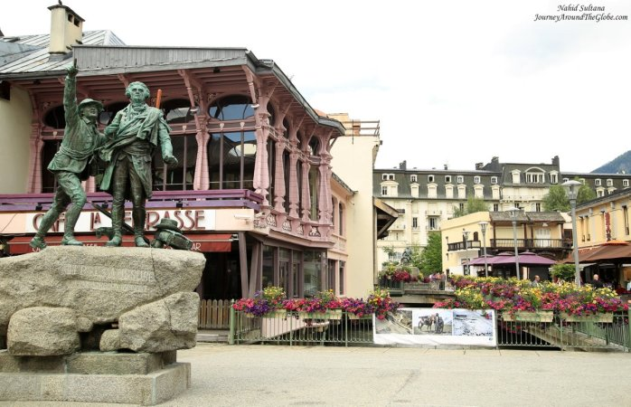 Statue of de Saussure in the city center of Chamonix, France