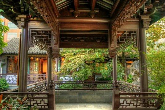 Traditional architectures in Lan Su Chinese Garden in Portland, Oregon