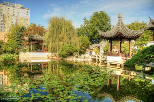 Beautiful landscape of Lan Su Chinese Garden in the heart of Portland, Oregon