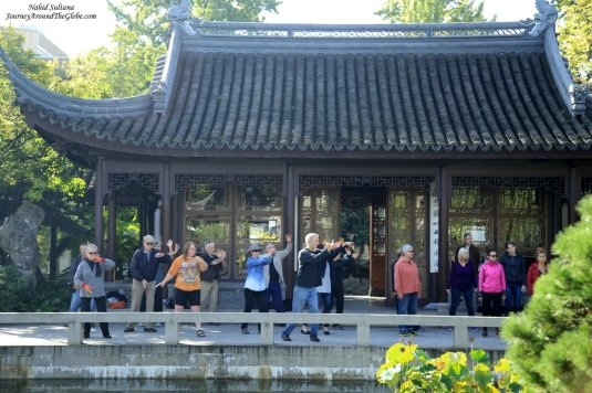 Tai Chi class on Thursday mornings in Lan Su Chinese Garden in Portland, Oregon