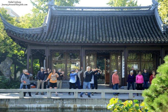 Tai Chi class on Thursday mornings in Lan Su Chinese Garden in Portland, Oregon