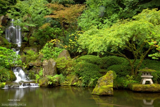 Heavenly Falls in Portland Japanese Garden in Oregon