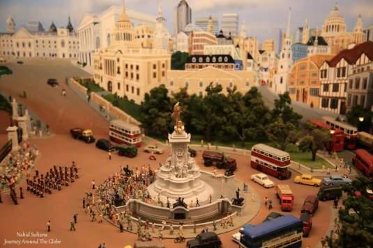 A small scale of Trafalgar Square in the Miniature World in Victoria, Canada