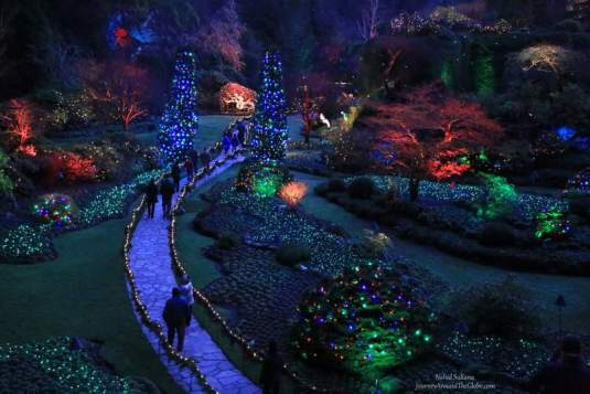 Holiday lights in Butchart Garden in Victoria, Canada