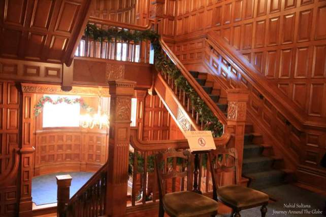 Victorian style intricate woodwork inside Craigdarroch Castle in Victoria, Canada