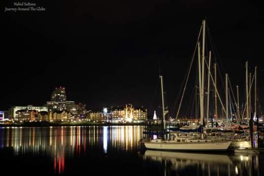 Victoria Harbor at night in British Columbia, Canada