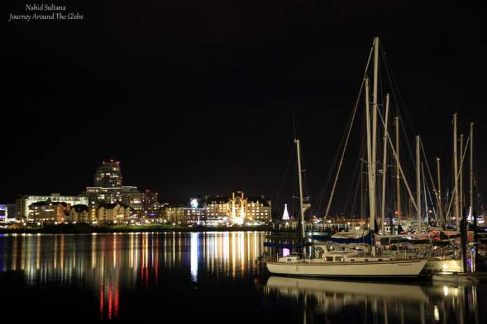 Victoria Harbor at night in British Columbia, Canada