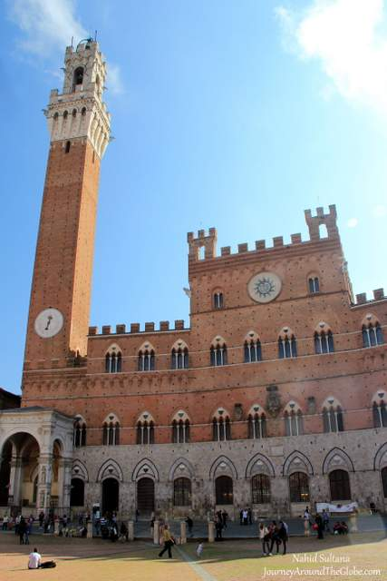 Palazzo Publico or Sienna City Hall in Piazza del Campo in Siena, Italy