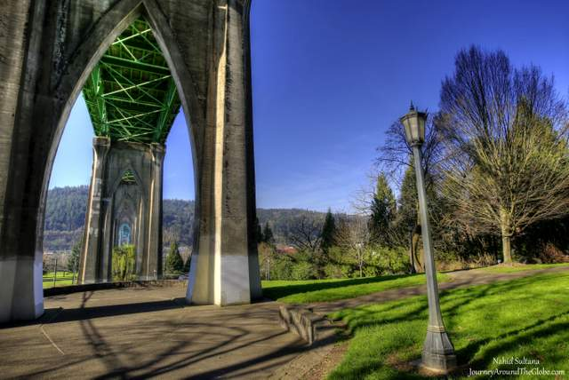 Cathedral Park and St. John's Bridge in Portland, Oregon