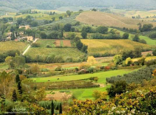 One of the most beautiful views of Tuscany from Punto Panoramico in San Gimignano, Italy