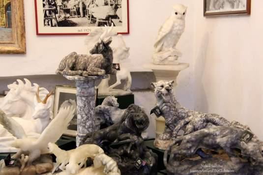 Some alabaster items in a souvenir shop in Volterra, Italy