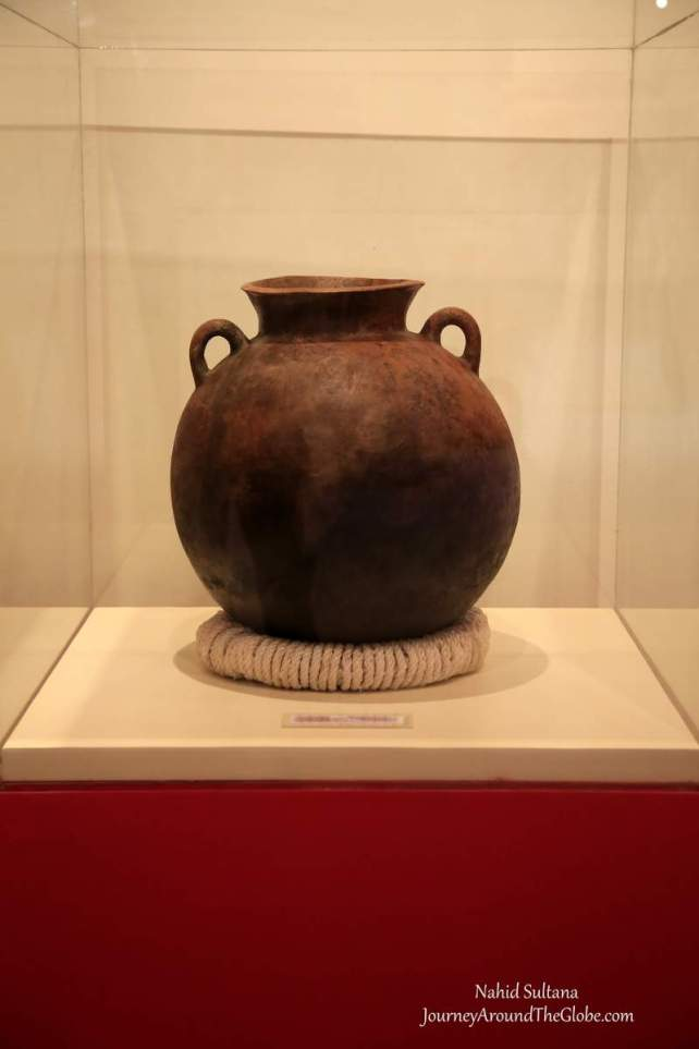 Few centuries old pottery made by the Mayan, displayed inside Joya de Ceren Museum in El Salvador