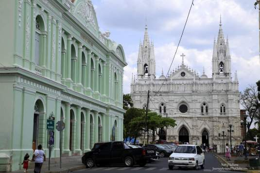 Cathedral Santa Ana and the theater (green building) in the town of Santa Ana, El Salvador