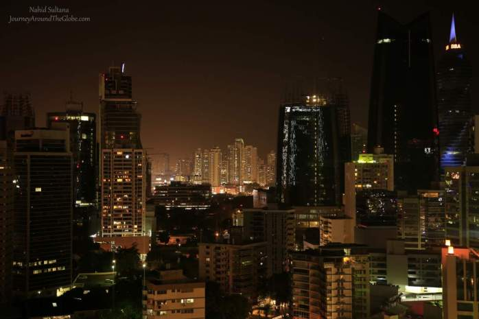 """Jungle of Steels"" a view of downtown Panama City from our hotel roof-top in Panama"