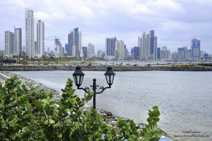 Looking at modern Panama City from the historic Casco Viejo in Panama