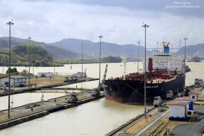 A vessel in transit in Miraflores Lock of Panama Canal