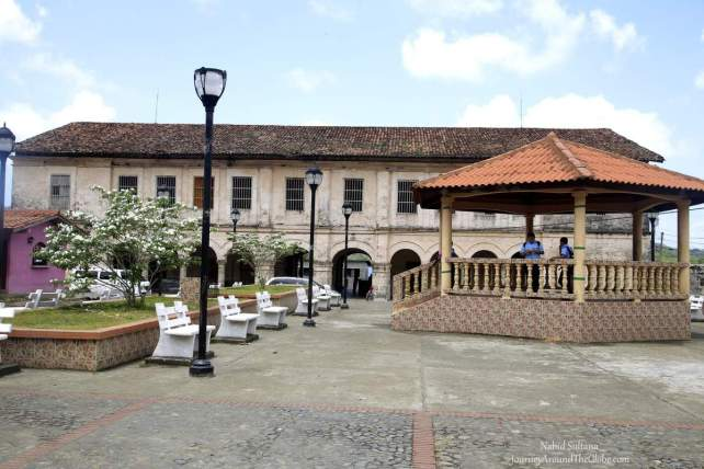 Plaza Mayor, the main plaza in Portobelo, Panama