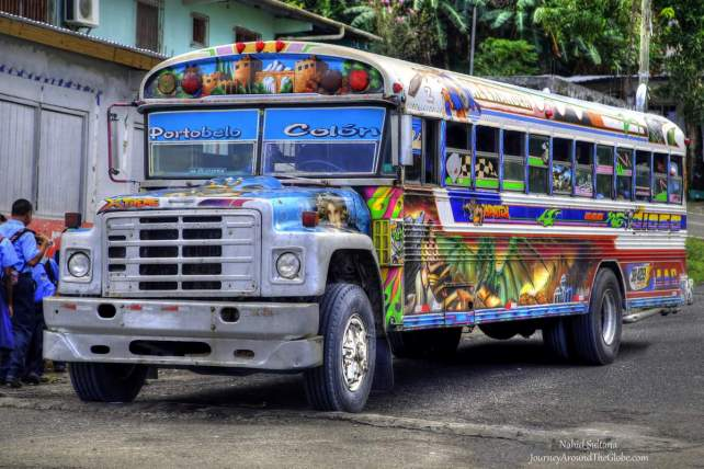 Isn't this a lovely looking bus? ... From Portobelo, Panama