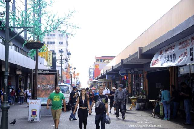 The main pedestrian street in the heart of San Jose, Costa Rica