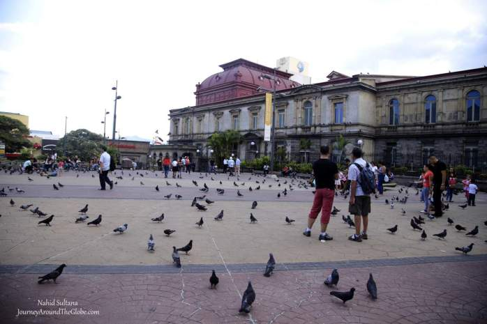 The main square of San Jose, Costa Rica, which houses some museums and important buildings, including the National Theater