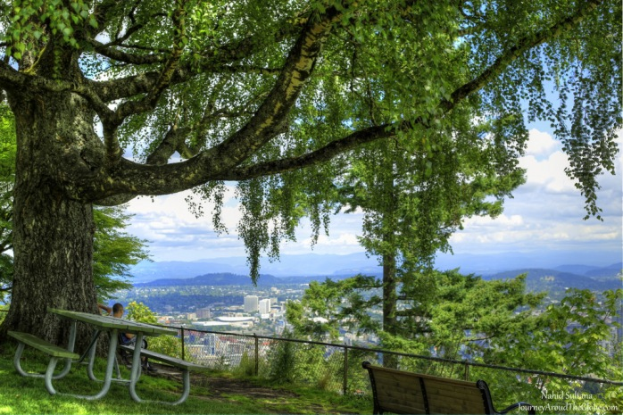 View from Pittock Mansion garden in Portland, Oregon