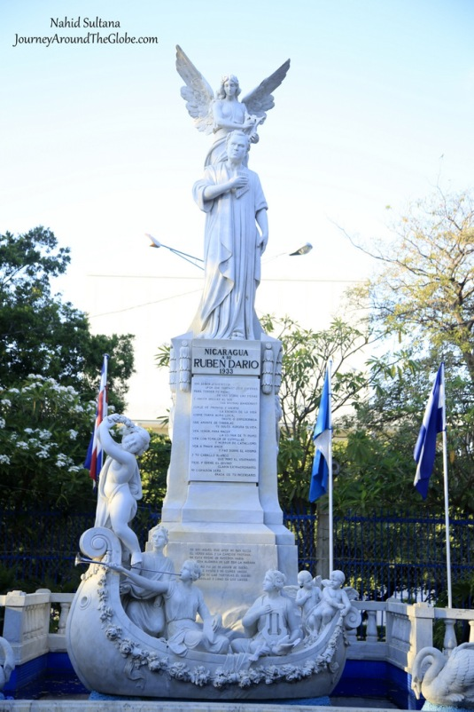 Statue of Ruben Dario in Parque Central de Managua in Nicaragua
